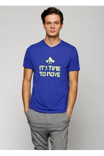 Футболка Cajubrasil T-SHIRT TIME TO MOVE PRINT синяя с принтом 5301/187